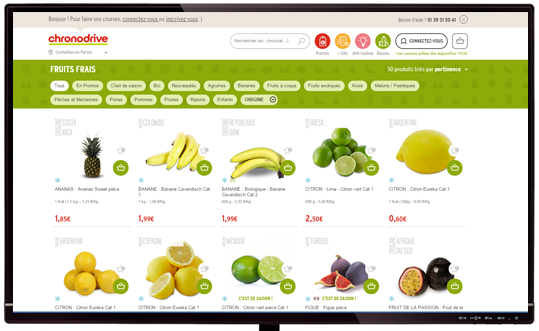 Rayon Fruits et Légumes de Chronodrive