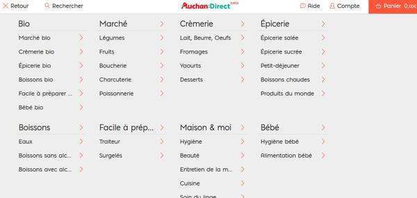 recherche par rayon - Site Auchan:Direct 2016